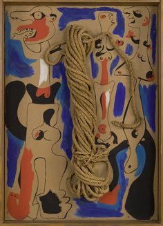 """Joan Miró. Rope and People, I, 1935, Oil on cardboard mounted on wood, with coil of rope, 41-1/4 x 29-3/8"""", The Museum of Modern Art, New Yor,. Gift of the Pierre Matisse Gallery, Photograph credit: The Museum of Modern Art, New York, Department of Imaging Services, © 2008 Successió Miró / Artists Rights Society (ARS), New York / ADAGP, Paris."""