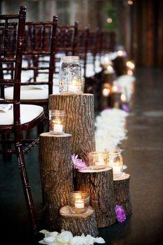 Rustic + elegant lantern wedding aisle decor / http://www.himisspuff.com/rustic-wedding-ideas-with-tree-stump/4/