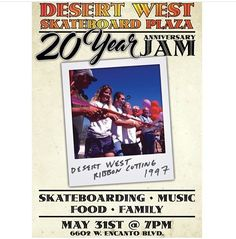 PhoenixAZ! Tonight at 7pm! Desert West Skatepark 20 year anniversary session with Cowtown Skateboards.  20 years ago this park brought me out to AZ with Planet Earth Skateboards and AZ has been a big part of my life since. This is the park that started a ripple effect of skateboarders working with their local cities to get a skatepark of their own. The chain of skateparks that opened after Desert West is unreal. Can't thank Cowtown Laura and the PHX locals that worked so hard to get this…