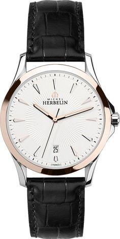 Montre Michel Herbelin Classique 12213/TR12 - Homme - Quartz - Analogique - Cadran Acier inoxydable Or - Bracelet en Cuir Noir - Date - Étanche 50 mètres