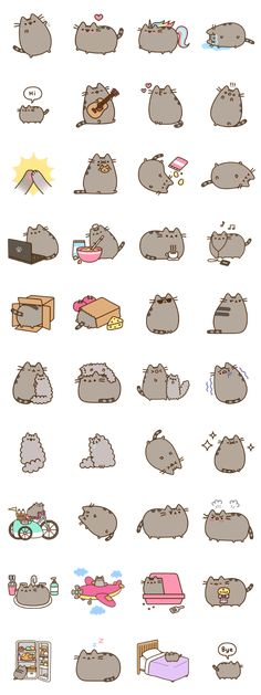 """Finally! The cute chubby gray cat """"Pusheen the Cat"""" now became LINE stickers!"""
