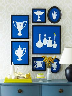 So easy! Cut out pictures of your favorite items. Use them to make stencils. Trace your stencils onto white shelf liner. Paste on to a background of your choice! I'm wondering if I could do this with my favorite landscapes...