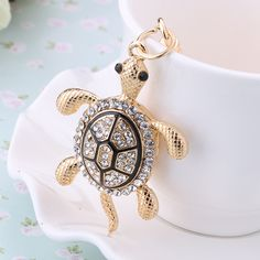 Charm trinket gold plated Rhinestone car Tortoise Keychains Metal Keyring Fashion women handbag Animal Turtle bag Key Holder-in Key Chains from Jewelry on Aliexpress.com | Alibaba Group