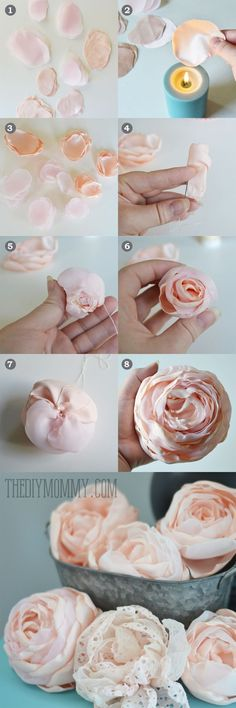 "diy_crafts- ""These are fabric, wonder if paper would work. DIY Fabric Peonies or Cabbage Roses Tutorial by The DIY Mommy"", ""The heat from the Paper Flowers Diy, Handmade Flowers, Flower Crafts, Diy Paper, Paper Crafts, Diy Crafts, Craft Flowers, Flower Diy, Making Fabric Flowers"
