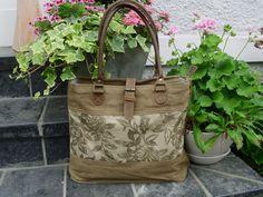 Canvastaschen - Vintage Shopper Canvas Tasche Segeltuch Leder - ein Designerstück von Ariadne-K bei DaWanda
