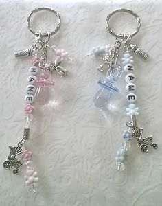 Baby key ring~gift~bag charm~pram charm~changing bag charm~new mum~personalised Baby Jewelry, Beaded Jewelry, Handmade Jewelry, Baby Shower Gifts, Baby Gifts, Pram Charms, Organza Gift Bags, Mini Albums, Jewelry Crafts