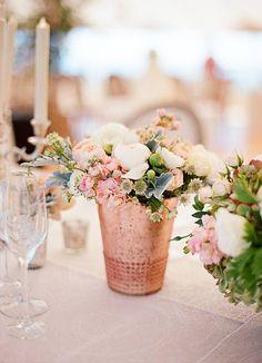 Rose Gold Vase with Flowers // Follow us on Facebook & Instagram: @thebohemianwedding //#wedding #weddingdecor #rosegold