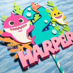 Pink Baby Shark Doo Doo Cake Topper – Smash Cake – Ocean Themed Birthday – Shark Decorations – Mommy Shark – Pink Aqua Green Yellow Orange Source by anyavong Shark Birthday Cakes, Boys First Birthday Cake, 2nd Birthday Party Themes, Birthday Cake Toppers, Baby Birthday, Baby Hai, Baby Shark Doo Doo, Mickey Y Minnie, Shark Party