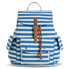 Women's Striped Print Backpack Handbag - Blue