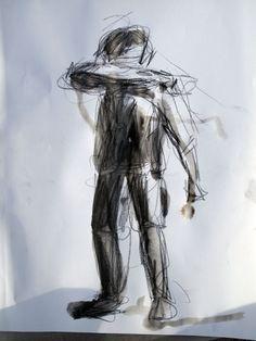 Dibujo de apuntes del natural. Diferentes poses de figura. 2010