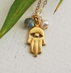 Gold hamsa necklace, 14k gold fill necklace, hamsa jewelry, kabbalah pendant, evil eye necklace, charm necklace, Lucky jewelry, tiny pearl on Etsy, $27.00