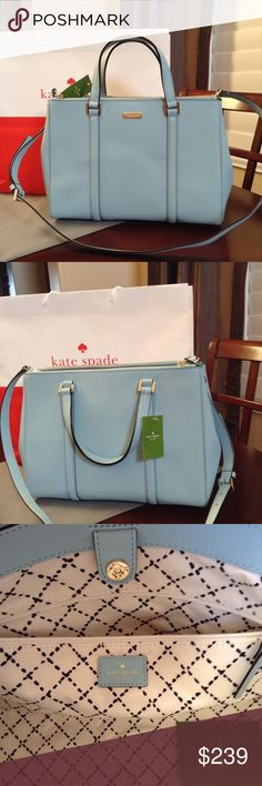 """NWT KATE SPADE LARGE LODEN Brand new with tag attached Color: Blehydrnga (417) WKRU2461 Newbury Lane collection Center top closure Internal zippered pocket, 2 center open pockets, 2 large front and back pocket - both zipper on top of bag Removable, adjustable shoulder strap  Dimensions: approx. 14""""L x 10""""H x 4.5""""W kate spade Bags Shoulder Bags"""