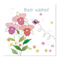 Best Wishes Greeting Card: Three Flowers, Unique Greeting Cards, Quality Birthday Cards and Luxury Christmas Cards by Paradis Terrestre