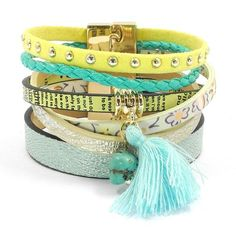 Summer Turquoise/Yellow Leather Bracelet With Magnet Buckle