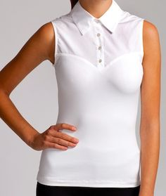 One of Jenny's must have shirts! Sleeveless solid white that fits right, not bulgy! White is a must and fitted even more so! Show off your figure in this fitted sleeveless shirt or cover up and still look trimmer than in any other sleeveless white shirt Womens Sleeveless Tops, Sleeveless Shirt, Dress Shirt, Tee Shirt, Just Dream, Layered Look, Collar Shirts, Collars, White Lace