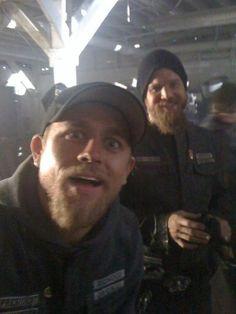 Charlie Hunnam and Ryan Hurst on the set of SoA