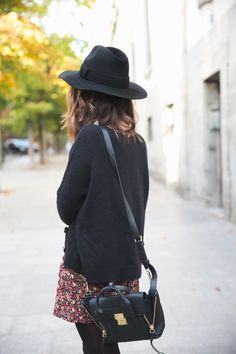 Fall Fashion   Floral Skirt   Black Sweater   Over the Shoulder Leather Bag   Hat