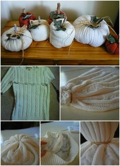 How to recycle an old sweater and to make white pumpkins
