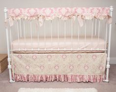 Bumperless Vintage Floral  Rose Pink and Ivory Baby Girl Crib Bedding with Crib Rail Guard / Rail Cover by HandmadeBySasha on Etsy https://www.etsy.com/listing/177011200/bumperless-vintage-floral-rose-pink-and