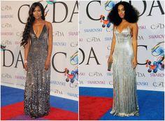 CFDA Fashion Awards 2014 Metallic dresses worn at the CFDA Fashion Awards 2014 Naomi Campbell in Diane von Furstenberg. Solange Knowles in Calvin Klein http://www.pierrecarr.com/blog/2014/06/wedding-inspiration-cfda-fashion-awards-2014/ #PierreCarr #CFDAFashionAwards
