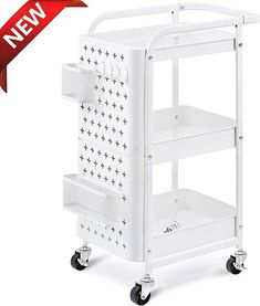 KINGRACK Storage Rolling Cart, Metal Utility Cart with Removable Pegboard, Trolley Organizer with Utility Handle and Extra Baskets Hooks for Kitchen Office Home, White Storage Trolley, Storage Rack, Extra Storage, Storage Shelves, Shelving, Kitchen Office, Kitchen Cart, Kitchen Storage, Chariot A Roulette