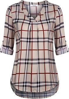 pipigo Mens Check Non-Iron Casual Lapel Short Sleeve Shirt Blouse Top