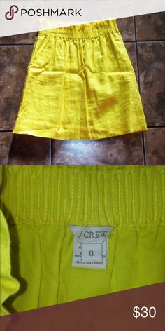 J.Crew high waisted skirt So fun!! Bright yellow high waisted skirt in a linen material. Absolutely FLAWLESS! Paired with a plain white shirt and wedges, you'll be rocking the office! Size 0, fits true to size! Skirts