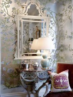 The Enchanted Home: Crazy for Chinoiserie, also the mirror and fab carved console!