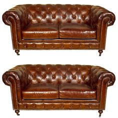 English Leather Chesterfield Sofas - Settees