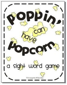 "FREE from Kindergarten Whale Tales on TpT. These words just keep ""poppin"" up! This game can instantly be incorporated into your classroom. It can be used in literacy centers, daily 5, or whole class. The sight words that are included are: no, in, he, love, we,"