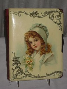 "Victorian Celluloid Photo Album with Brundage ""Green Bonnet"" Young Girl"