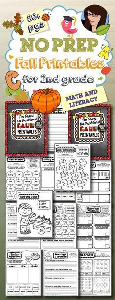 2nd Grade NO PREP Fall Printables
