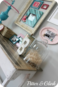Love the lamp and chicken wire lamp shade, frames in frame and magnetic painted tray!