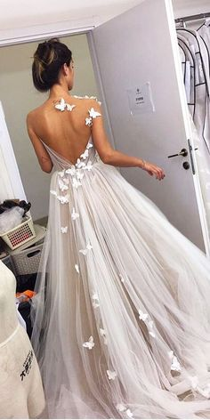 27 Stunning Trend: Tattoo Effect Wedding Dresses ❤ tattoo effect wedding dresses a line illusion butterfly liz martinez bridal ❤ See more: http://www.weddingforward.com/tattoo-effect-wedding-dresses/ #weddingforward #wedding #bride