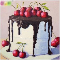 Cake Drawing, Food Drawing, Food Illustrations, Illustration Art, Cupcake Illustration, Chocolate Cherry Cake, Chocolate Icing, Realistic Cakes, Food Painting