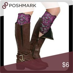 "Stretchy Lace Flowers Boot Cuffs (Purple) Beautiful flowers lace boot cuffs for women or girls. Made by soft stretch yarn and lace, comfortable and breathable. It will add charm for your outfit, also show your good fashion taste.  Type: Boot Socks  Gender: Women's  Size: One Size  Material: Stretch Yarn, Lace  Style: Fashion, Casual  Garment Care: Hand-wash Only  Features: Lace, Stretchy, Flowers, Soft  Calf Circumference: 11.02"" x 7.09""   I have these in several other colors. Bundle & SAVE…"