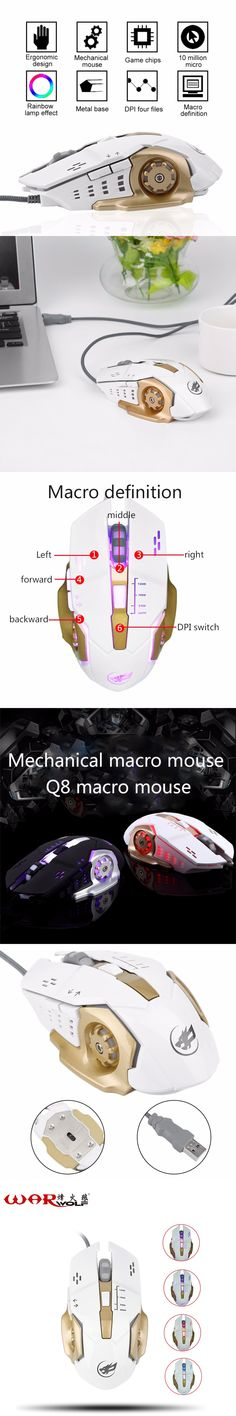 WarWolf Practical Metal Iron Bottom Mouse Gaming Mouse USB Wired Optical Computer Game Mouse Mice with Adjustable DPI