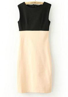 Multicolor Zipper Round Neck Sleeveless Wrap Polyester Dress
