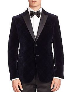 This is such an amazing jacket! I love men's velvet jackets although I dislike anything velvet for women. The only velvet thing I'd ever purchase for myself would be shoes, a bag, or furniture. :) Armani Collezioni Velvet Argyle Dinner Jacket