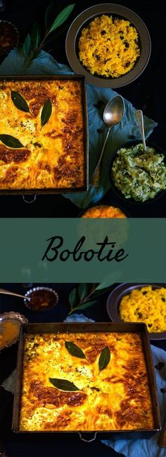 Bobotie recipe South African Beef Bobotie ~ Ground beef mince cooked in a sweet curry sauce, topped with an egg mixture and baked in the oven until set, served with yellow rice and vegetables. South African Dishes, South African Recipes, Ethnic Recipes, Africa Recipes, World Recipes, Meat Recipes, Cooking Recipes, Oven Recipes, Minced Beef Recipes