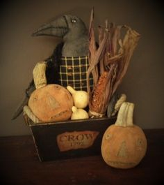 """New Primitive Rustic Halloween BLACK CROW DOLL ON SPINDLE Make Do 11/"""""""