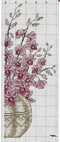 Cross-stitch Beautiful Flowers, part 4...  color chart on part 2...    Sandrinha Ponto Cruz