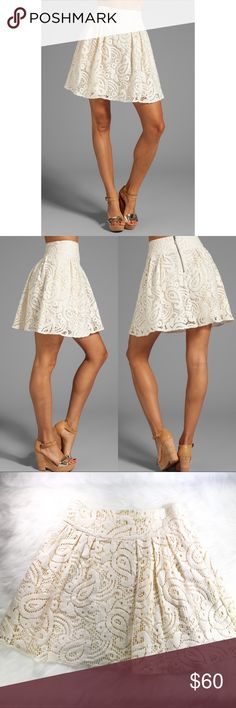 """Nanette Lepore • Mambo Lace Cha-Cha-Cha Skirt Lace Cha-Cha-Cha skirt in Ivory 80% Cotton 20% Poly Skirt measures approx 19"""" in length Lined Lace overlay  Pleated skirt waist Side seam pockets Back zip closure Original price $248 Excellent Used Condition  No Trades, or modeling. 💕  Please use the offer button, as I do not discuss pricing in the comments section.   Happy Poshing! ❤️ Nanette Lepore Skirts"""