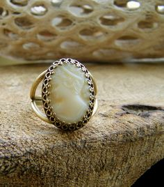 White Milk Glass Cameo Ring Vintage West Germany by cuppacoffee