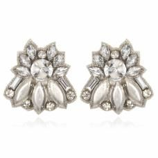 Sunset Boulevard Button Earrings - Silver
