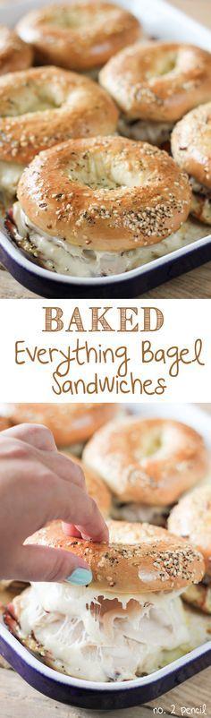 Baked Ham and Turkey Everything Bagel Sandwiches