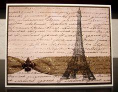 French Note Card - glitter ribbon, handwriting, Eiffel Tower, fleur-de-lis brad. $3.50