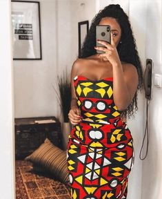 This fit is it! Discover more looks from _ ・・・ When dress fits your waist damn well🙌🏾🔥🥰! African Wear Dresses, Latest African Fashion Dresses, African Print Fashion, Africa Fashion, African Attire, Ankara Fashion, Look Fashion, Fashion Outfits, Street Fashion