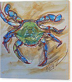 Blue Crab Blues Wood Print by Kelly ZumBerge