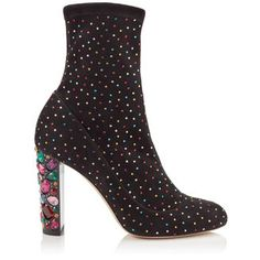 Jimmy Choo Maine 100 Black Suede Booties With Multi Scattered Crystals And Embellished Heel, As Worn By Cara De In Multi/black Black Suede Boots, Suede Booties, Ankle Booties, Luxury Gifts For Women, Cute Boots, Jimmy Choo Shoes, Designer Boots, Fashion Heels, Me Too Shoes